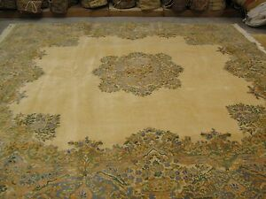 Vintage Authentic Hand Knotted Wool Persian Royal Kerman Rug 9 8x10 2 Square