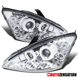For 00 04 Ford Focus Chrome Clear Dual Halo Led Projector Headlights