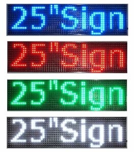Led Sign 25 x6 5 red Green Blue White Amber Scrolling Programmable Message Board