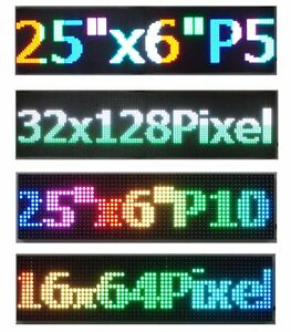 Full Color Led Sign 25 x 6 5 Scrolling Programmable Message Board Pc Controlled
