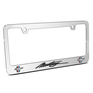 Ford Mustang Script Style 3d Dual Logo Mirror Chrome Metal License Plate Frame