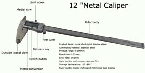 Quality12 metal Shell Digital Display Caliper Length Diameter Depth Measuretool