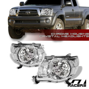 For 2005 2011 Toyota Tacoma Chrome Clear Housing Headlights Signal Lamps Pair Nb