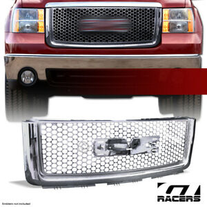 For 2007 2013 Gmc Sierra 1500 Chrome Round Mesh Front Bumper Hood Grille Abs