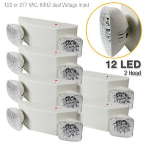 6 pack 12 Led Twin Ultra Bright Emergency Exit Light Standard Square Head