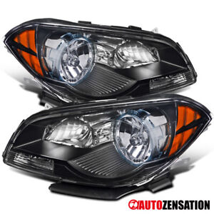 For 2008 2012 Chevy Malibu Black Headlights Lamps Left Right Pair Amber