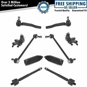 10 Piece Steering Suspension Kit Control Arms Tie Rods Sway Bar End Links