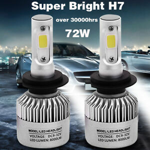 2x S2 H7 Cob Led Headlight Kit 72w 8000lm Car Bulb Fog Light White 6500k 12v 24v