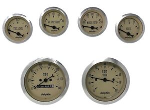 6 Gauge Hot Rod Street Rod Universal Dash Set Mechanical Speedometer Tan