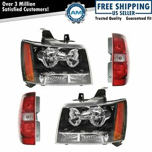 Headlight Tail Light Lamp Set Of 4 Kit For 07 14 Chevy Tahoe Suburban Suv New