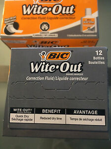Bic Wite out Quick Dry Correction Fluid 22 Ml Bottle White 4 Boxes Of 12
