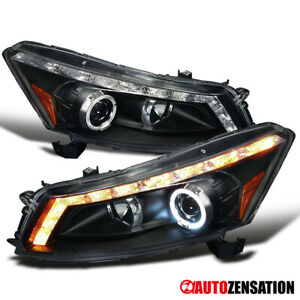 For 08 12 Honda Accord 4dr Black Led Halo Projector Headlights