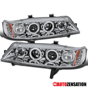 For 94 97 Honda Accord 2dr 4dr Clear Led Drl Dual Halo Rims Projector Headlights