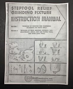 Harig Products Steptool Relief Grinding Fixture Instruction Manual Grinder