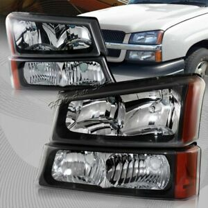 For 2003 2006 Chevy Silverado Avalanche 1500 2500 3500 Black Head Lights Lamps