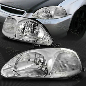 For 96 98 Honda Civic 2 3 4dr Chrome Housing Headlights W clear Reflector Lamps