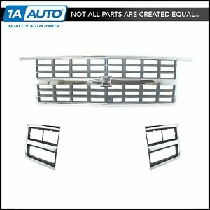 Chrome Grille Headlight Lamp Bezel Kit 3 Piece For 89 91 Chevy Truck Suv New