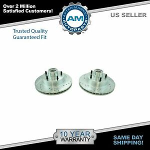 Nakamoto Front Performance Drilled Slotted Zinc Coated Disc Brake Rotor Pair New