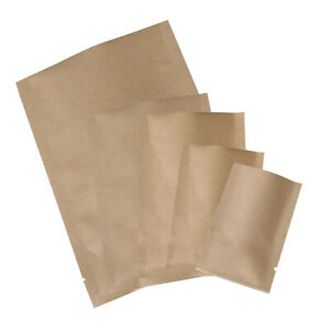 New Flat Open Top Brown Kraft Sample Storage Bags Pouches Variety Quantity Sizes