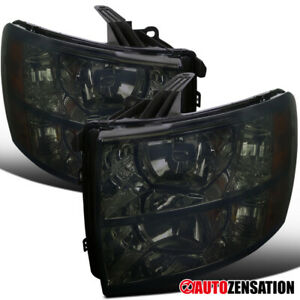 For 2007 2014 Chevy Silverado 1500 2500 3500 Smoke Headlights Lamps Pair Amber