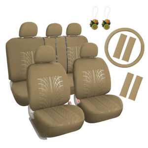 Tan Cloth Car Seat Covers Set 17pcs Front Rear W steering Wheel belt head Rest