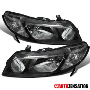 Fits 2006 2011 Honda Civic 4dr Sedan Pair Black Clear Headlights Head Lamps