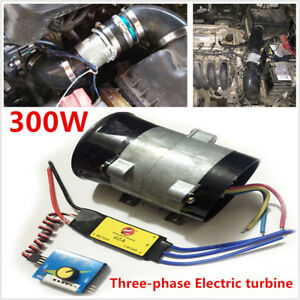 Car Electric Turbo Supercharger Kit Air Intake Fan Boost Thick Wire W Esc 12v