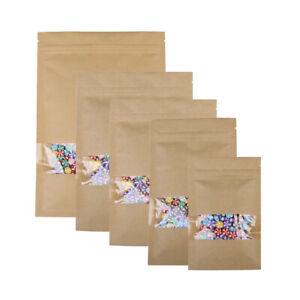 Flat Brown Kraft Zip Lock Resealable Bags With Clear Window Variety Qty Sizes