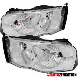 02 05 Dodge Ram Pickup Clear Chrome Crystal Headlights Right Left