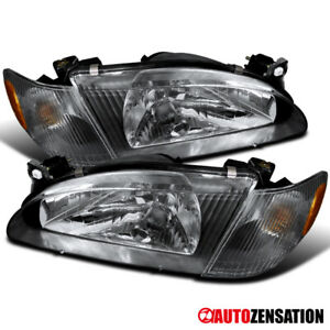For 1998 2000 Toyota Corolla Pair Black Clear Headlights W Corner Signal Lamps