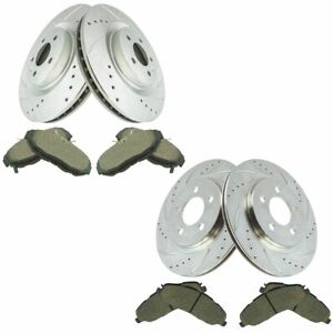 Front Rear Ceramic Brake Pads Performance Drilled Slotted Coated Rotor Kit