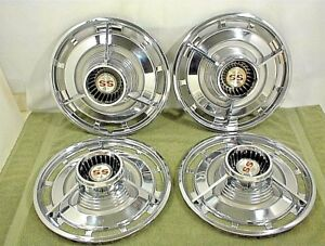 1963 Chevrolet 14 Ss Spinner Hubcaps Wheel Cover Flippers 3 Bar Impala Belair