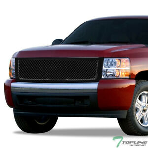 Glossy Black Mesh Front Hood Bumper Grill Grille 2007 2013 Chevy Silverado 1500