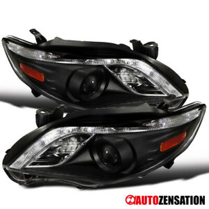 For 2011 2013 Toyota Corolla Led Drl Strip Black Projector Headlights Pair