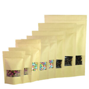 Brown Kraft silver kraft Stand Up Ziplock Bags W Clear Window Variety Qty Sizes