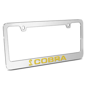 Ford Mustang Cobra Speed line In Yellow Chrome Metal License Plate Frame