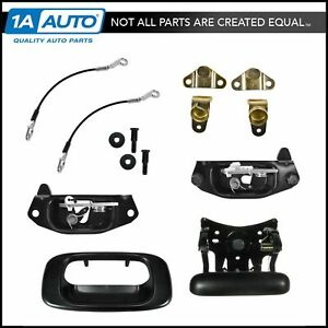 Tailgate Hinge Latch Striker Handle Cable Kit Set For Chevy Gmc Silverado Sierra
