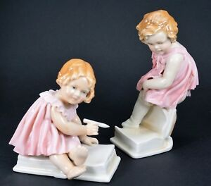 Two Karl Ens Porcelain Figurines Of Little Girls In Pink Dresses