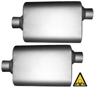 Pair Of Two Universal Performace 2 Id Universal Mufflers Offset Center