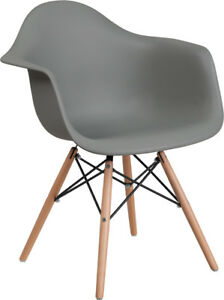 Gray Plastic Chair With Wood Base Restaurant Furniture Banquet Accent