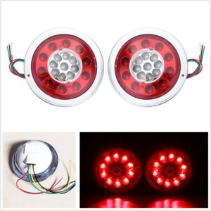 2 X Round 4 3 19led Car Truck Caravans Lorry Tail Lights Brake Stop Turn Lamps