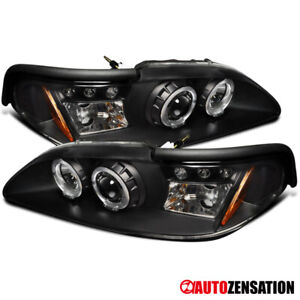 94 98 Ford Mustang Black Led Drl Halo Projector Headlights