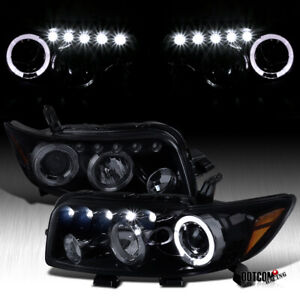Black Smoke For 2008 2010 Scion Xb Led Halo Projector Headlights Head Lamps Pair