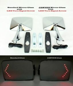 73 91 Chevy Gmc Truck Square Led Turn Signal Outside Rearview Door Mirrors Pair