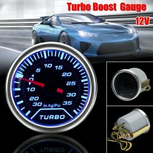 2 52mm Universal Led Turbo Boost Press Vacuum Gauge Psi Meter Blue Light Us
