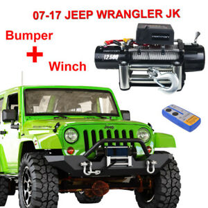 Rock Crawler Front Bumper 12500lbs Winch Steel Cable For 07 17 Jeep Wrangler Jk