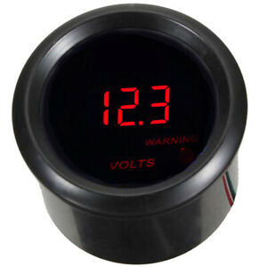 2 Inch 52mm Black Car Motor Digital Red Led Volt Voltage Gauge Meter 0 15v
