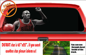 W802 Michael Jordan Bull Basketball Printed Vinyl Rear Window Car Decal Sticker