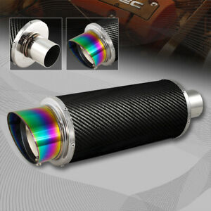 4 N1 Slant Rainbow Burnt Tip 2 5 Inlet Carbon Fiber Wrap Exhaust Steel Muffler