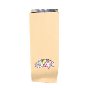100 Open Top Brown Kraft Bags Side Gusset Bags Clear Window 9x26cm 3 5x10 2in